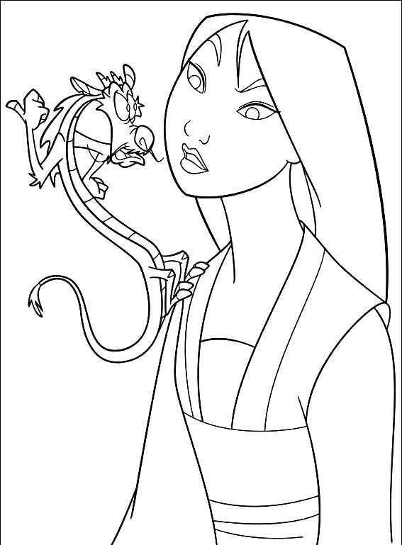 mulan with mushu coloring pages mulan cartoon coloring pages