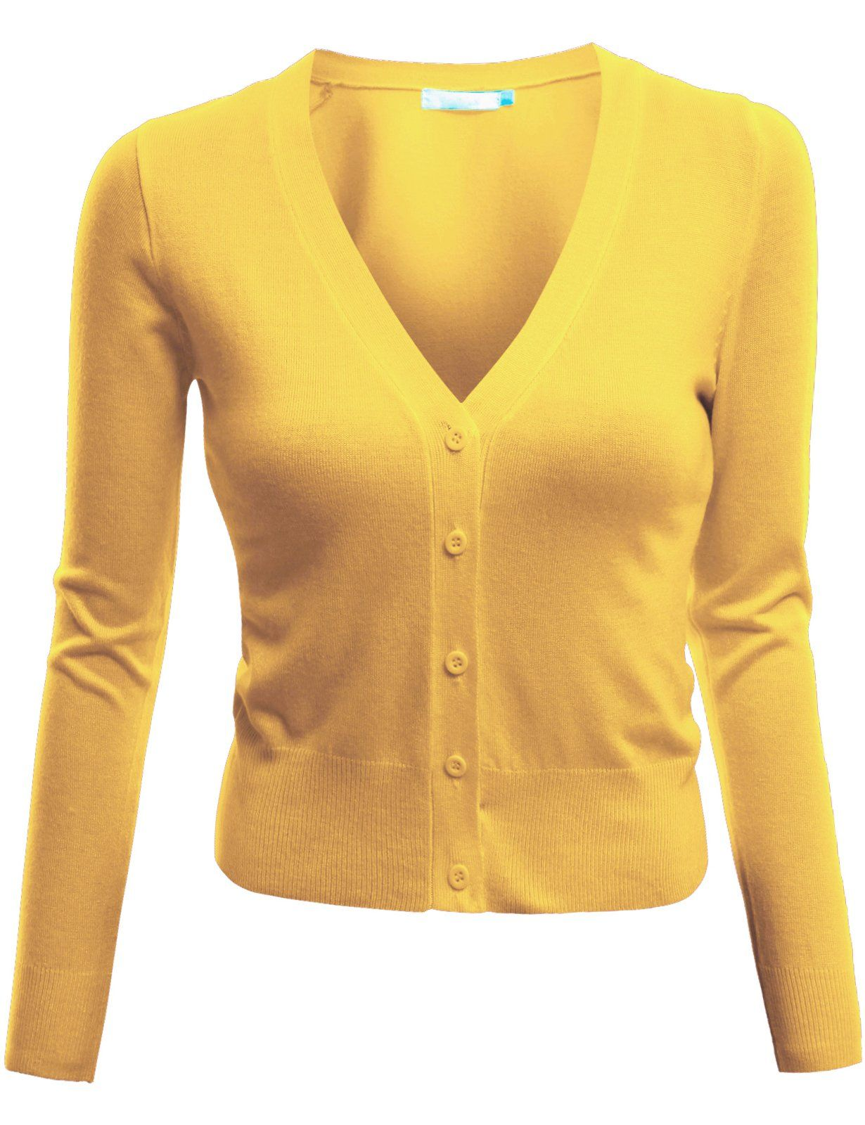 Doublju Short Length Knit Shrug Cardigan YELLOW (US-XS) | 50's ...