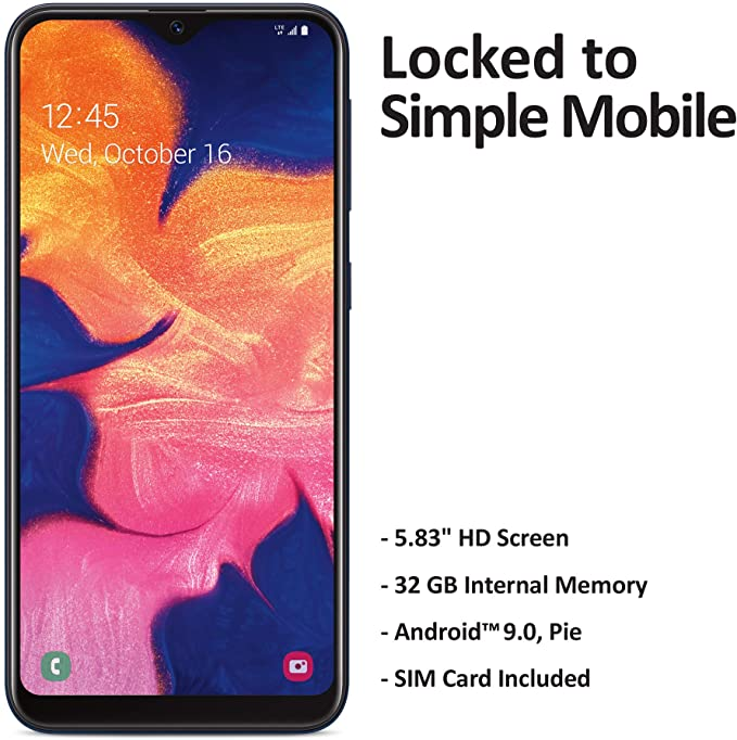 Amazon Com Simple Mobile Samsung Galaxy A10e 4g Lte Prepaid Smartphone Locked Black 32gb Sim Card Included G Simple Mobile Samsung Galaxy Smartphone