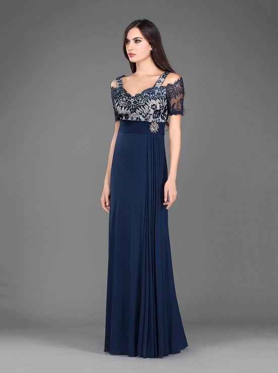 52f323b38e22 Βραδινό κλασικό φόρεμα με δαντελένιο μπούστο - Κλασικά Φορέματα ...
