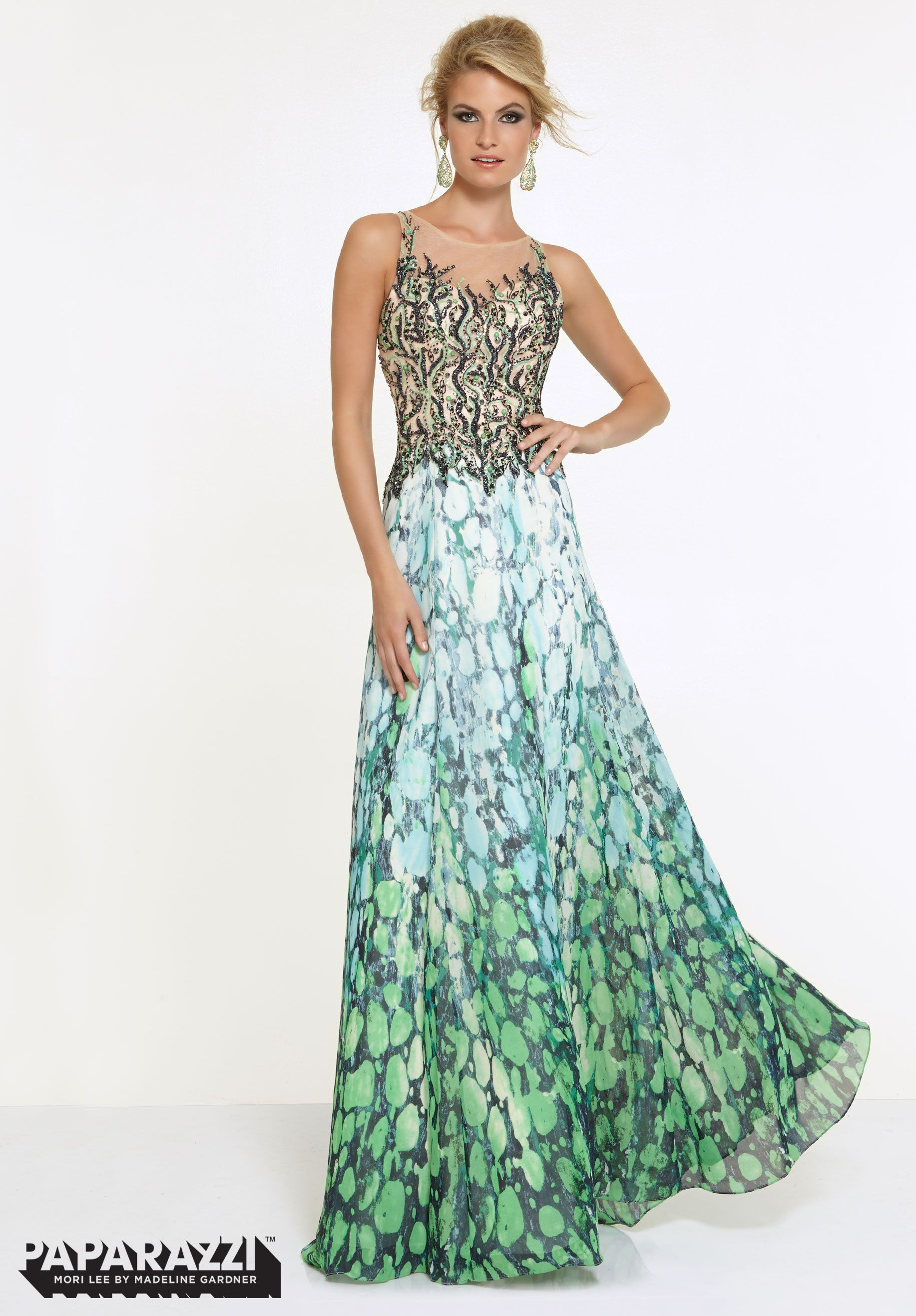 97077 Prom Dresses / Gowns Beaded Net on Printed Chiffon Multi ...