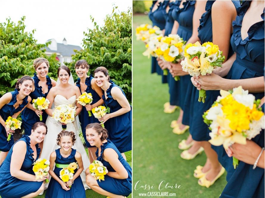 Navy and Yellow Bridesmaid Dresses