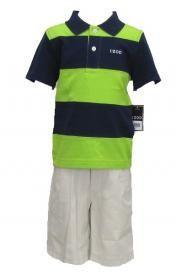 Izod Boys sz 4 Navy Blue and Green Stripe Polo Shirt and Khaki Shorts Set