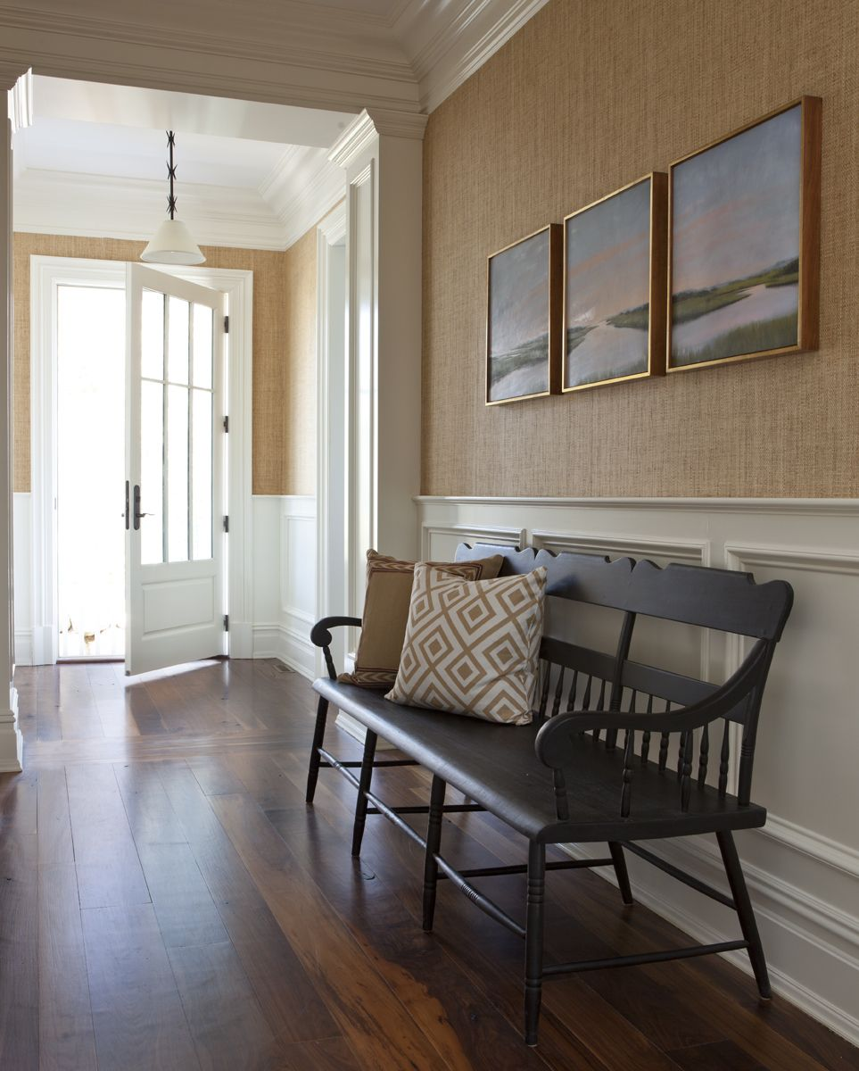 Light Brown Grass Cloth Wall Covering In This Transitional