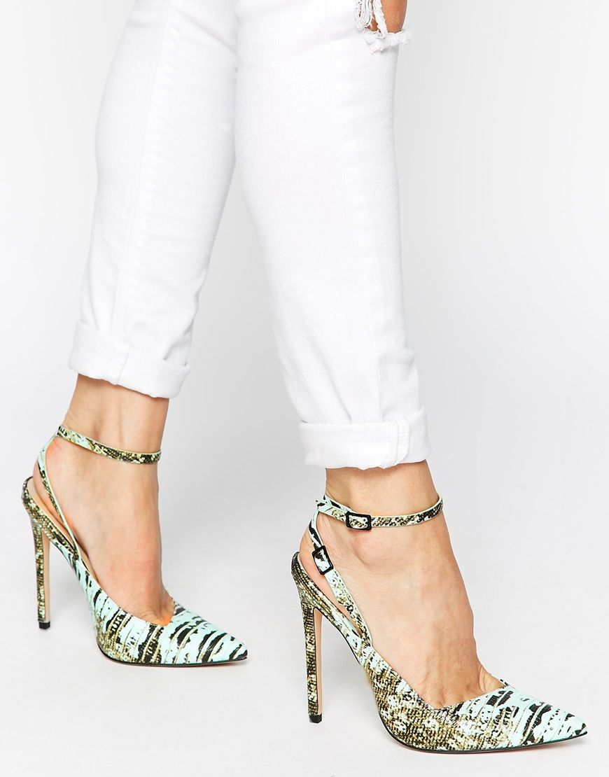 ASOS PLAY ON WORDS Pointed High Heels w/ankle straps.