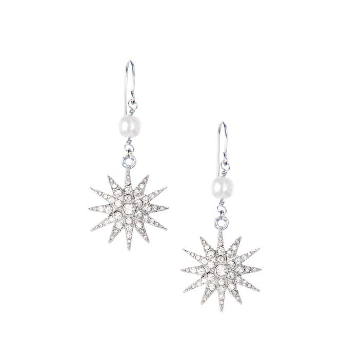 Double Drop Pave Starburst Earrings
