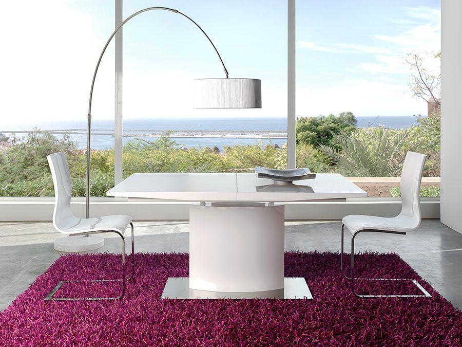 table de salle manger rectangulaire design hanoi laqu e blanche avec rallonge centrale. Black Bedroom Furniture Sets. Home Design Ideas