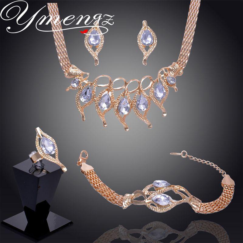 Ymengz unieke gift voor vrouwen bruiloft goud gevuld blad rode granaat ketting armband oorbellen ring sieraden sets gp2252/2255-2256