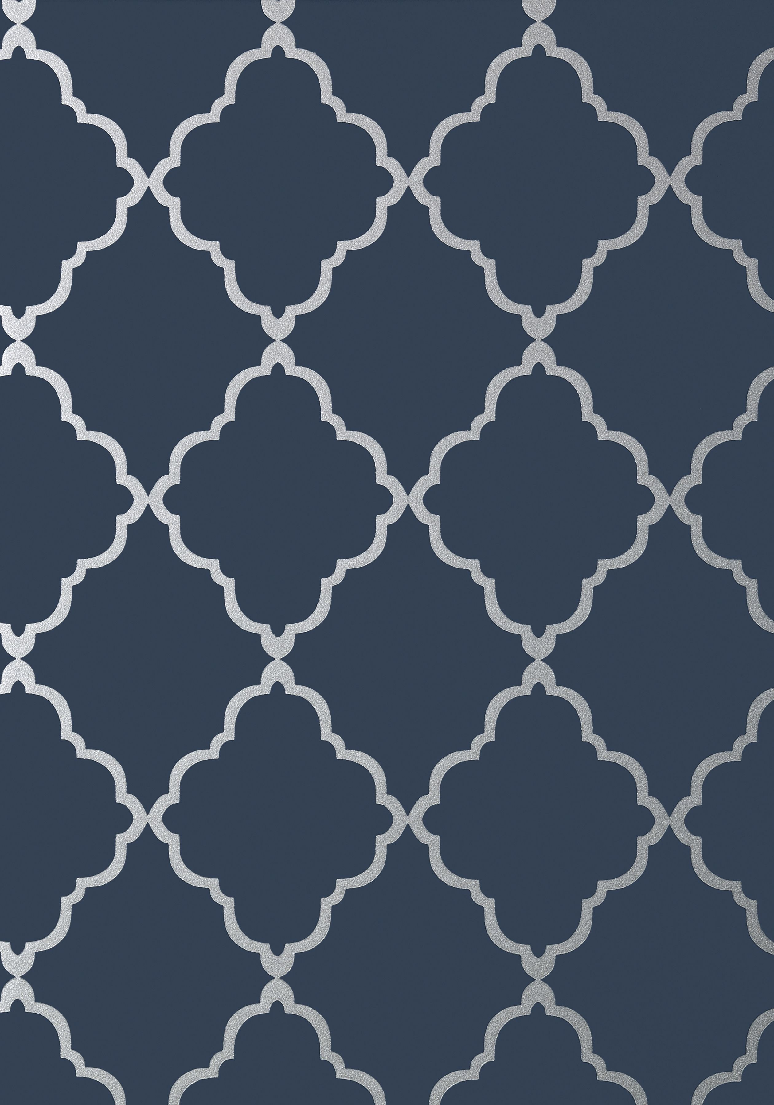 Navy hallway ideas  KLEIN TRELLIS Silver on Navy AT Collection Seraphina from
