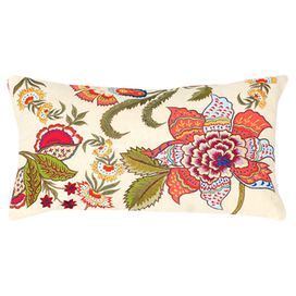 Lumbar Pillow With Embroidered Detailing And A Multicolor Floral Motif Product Pillowconstruction Material Cotton Cover An Floral Pillows Floral Accent Pillow
