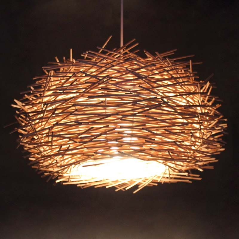 Dia 157 wicker bird nest lampshade handmade pendant lighting dia 157 wicker bird nest lampshade handmade pendant lighting home or bar deco pendant mozeypictures Image collections