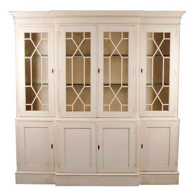 English Antique Style White Painted Breakfront Bookcase Display ...