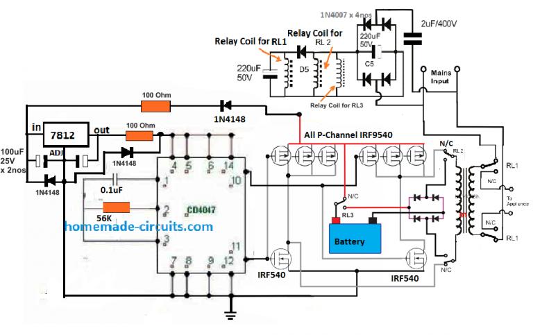 500 Watt Inverter Circuit with Battery Charger | Homemade ...