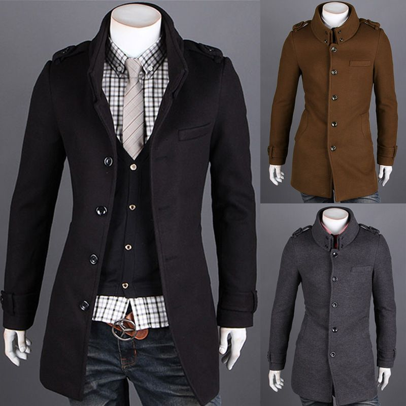 Free shipping autumn winter woolen slim fit double layer