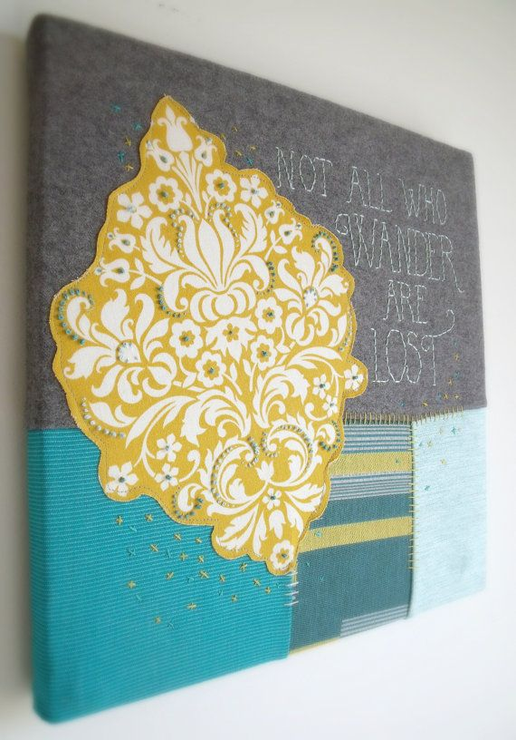 Handmade Fabric Wall Hanging Not All Who Wander are Lost Lime Green ...