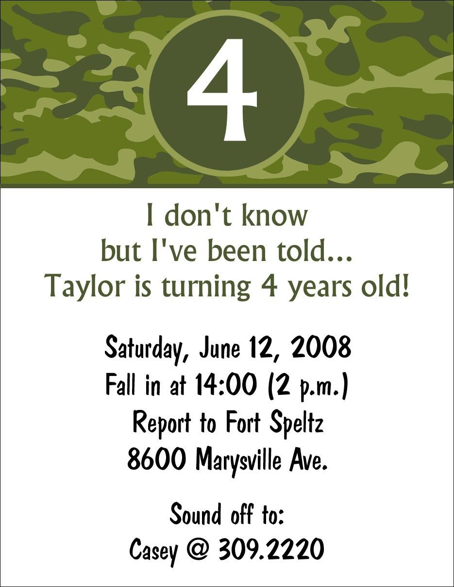 10 Camouflage Army Camo Birthday Party Invitations Or Printable Diy