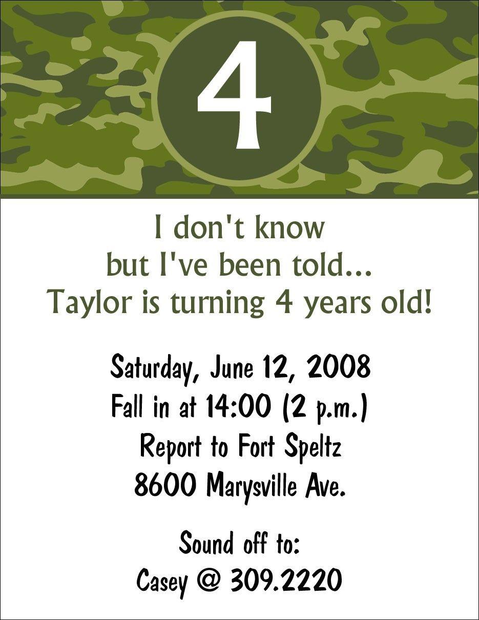 Camo Birthday Invitation // Army birthday party // Hunting ...