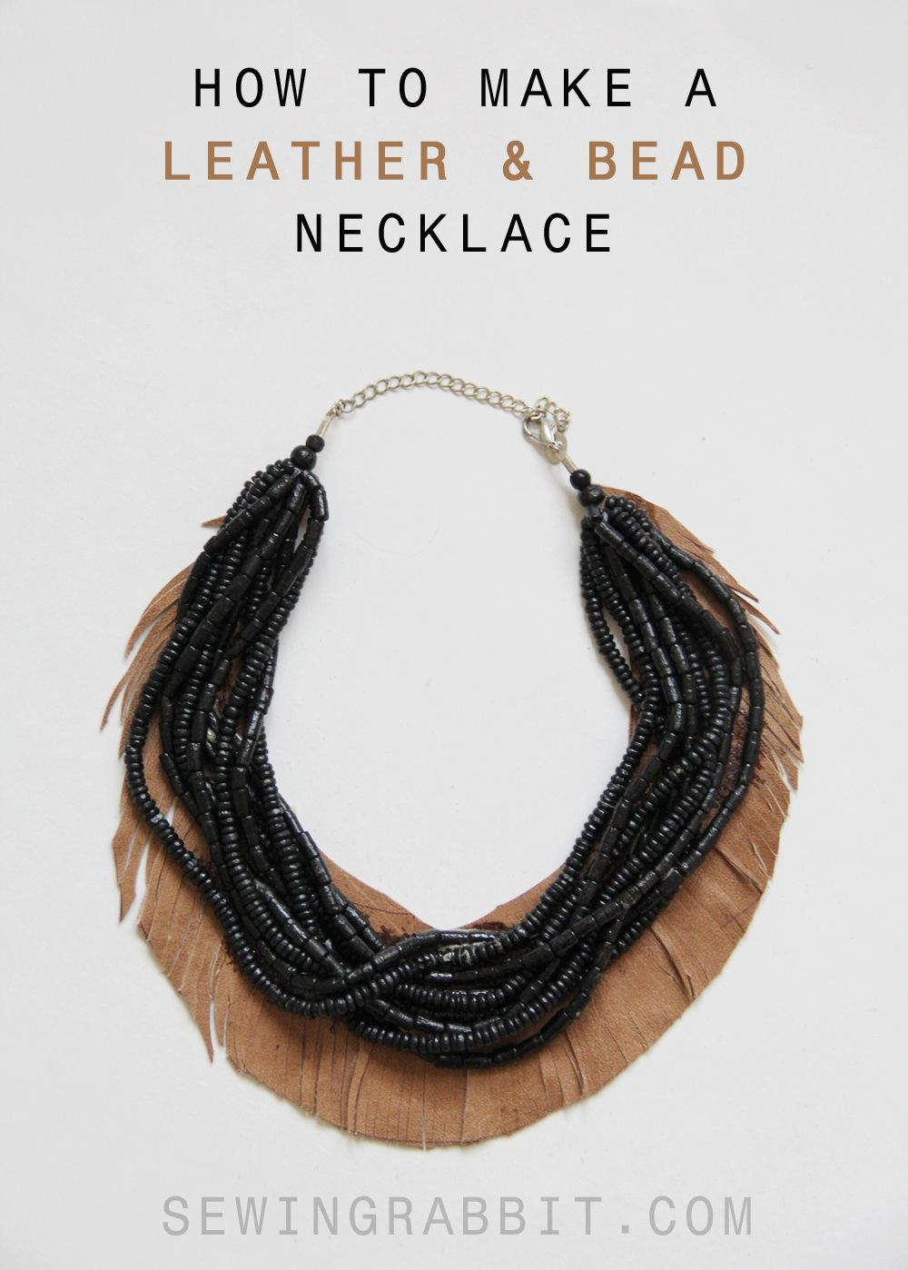 leather fringe and bead necklace | fringe necklace, beads and