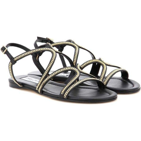 bdf743256d2 Jimmy Choo Nickel Flat Embellished Leather Sandals (24