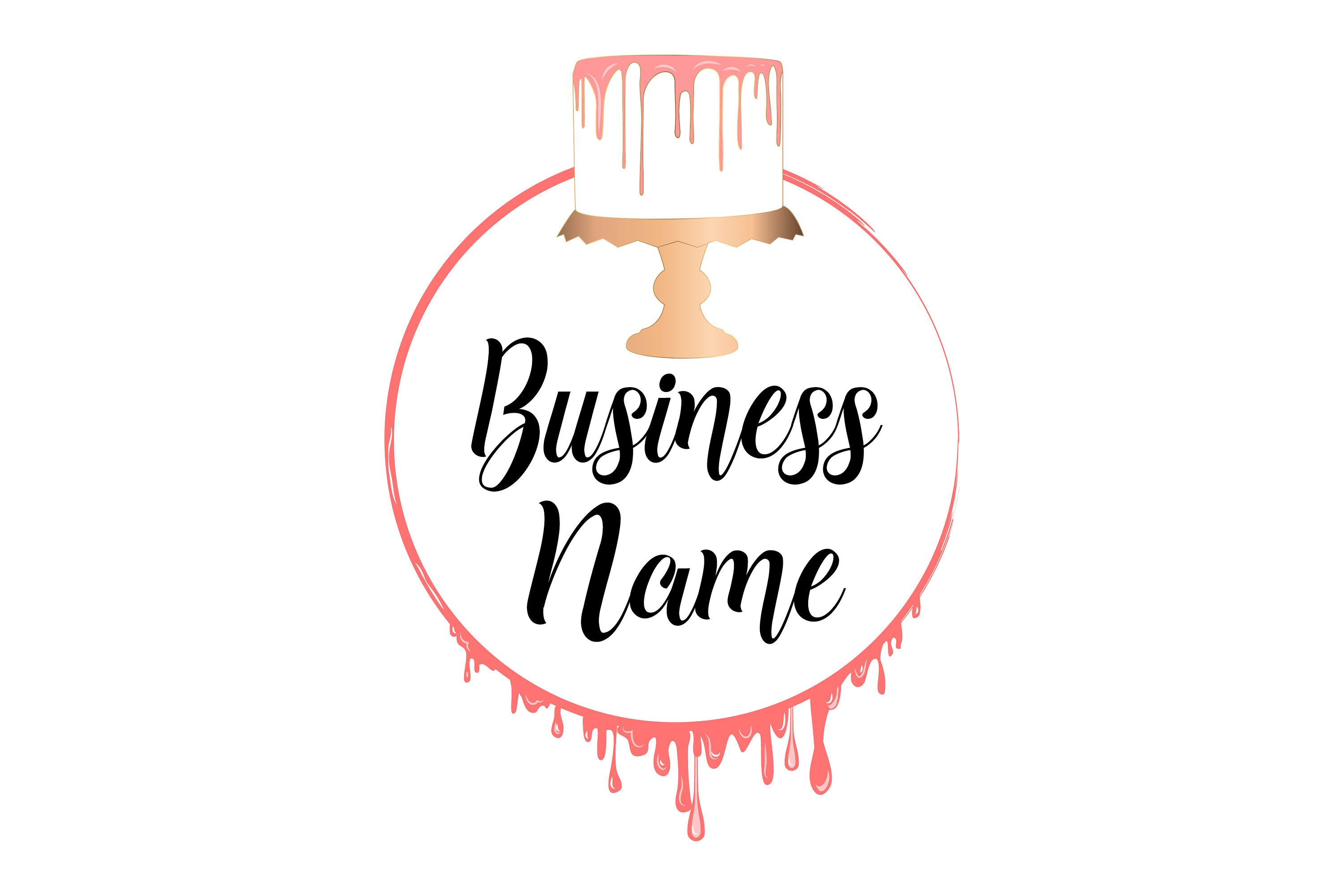 DIGITAL Custom logo design, pink dripping cake logo