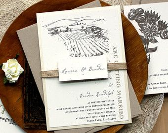 burlap wedding invitations, rustic farm wedding invitations, Wedding invitations