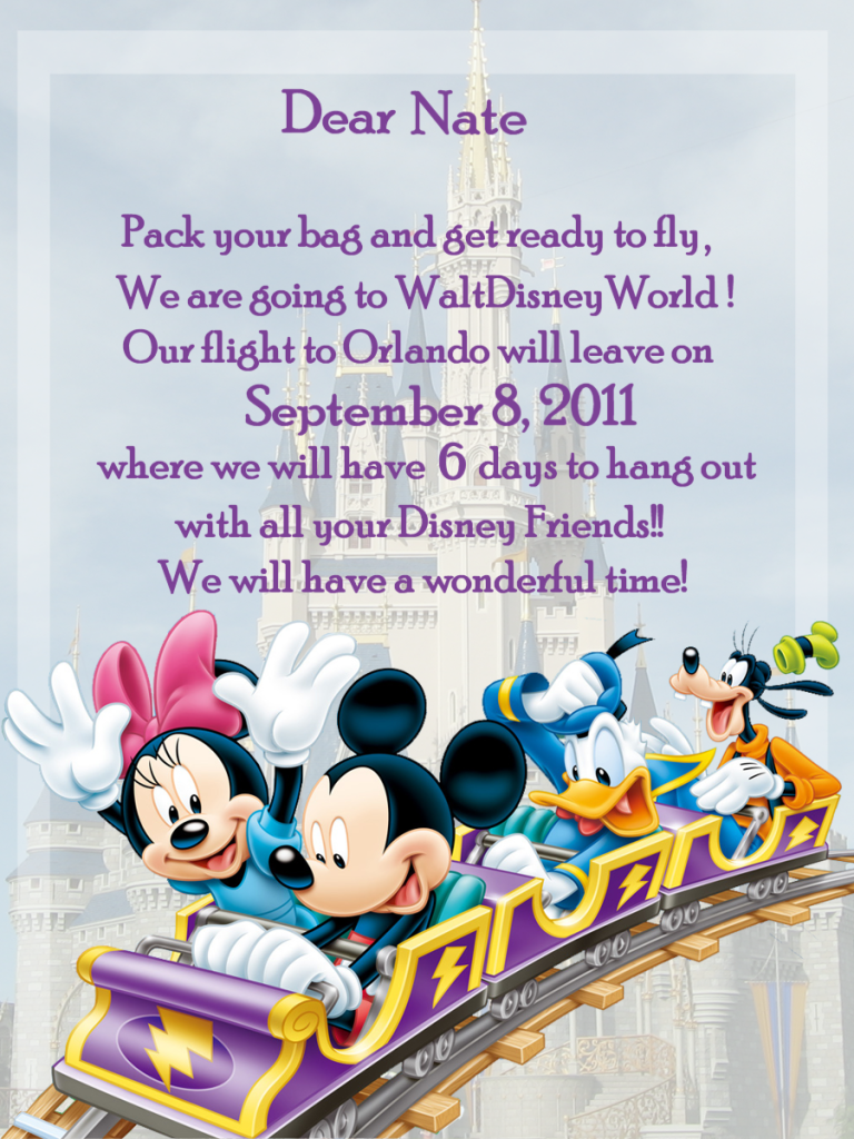 Disney world invitation great idea for kids disney world disney world invitation great idea for kids stopboris Choice Image