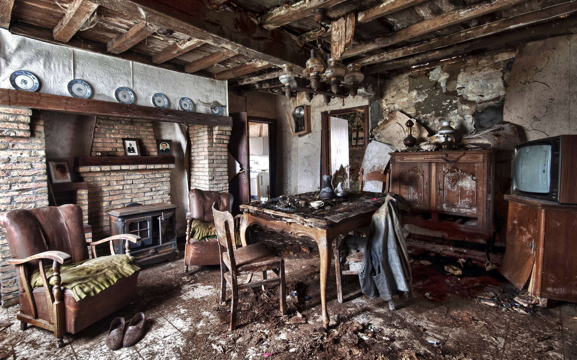 Interior Old Table Armchair Room Design Ruins Apocalyptic