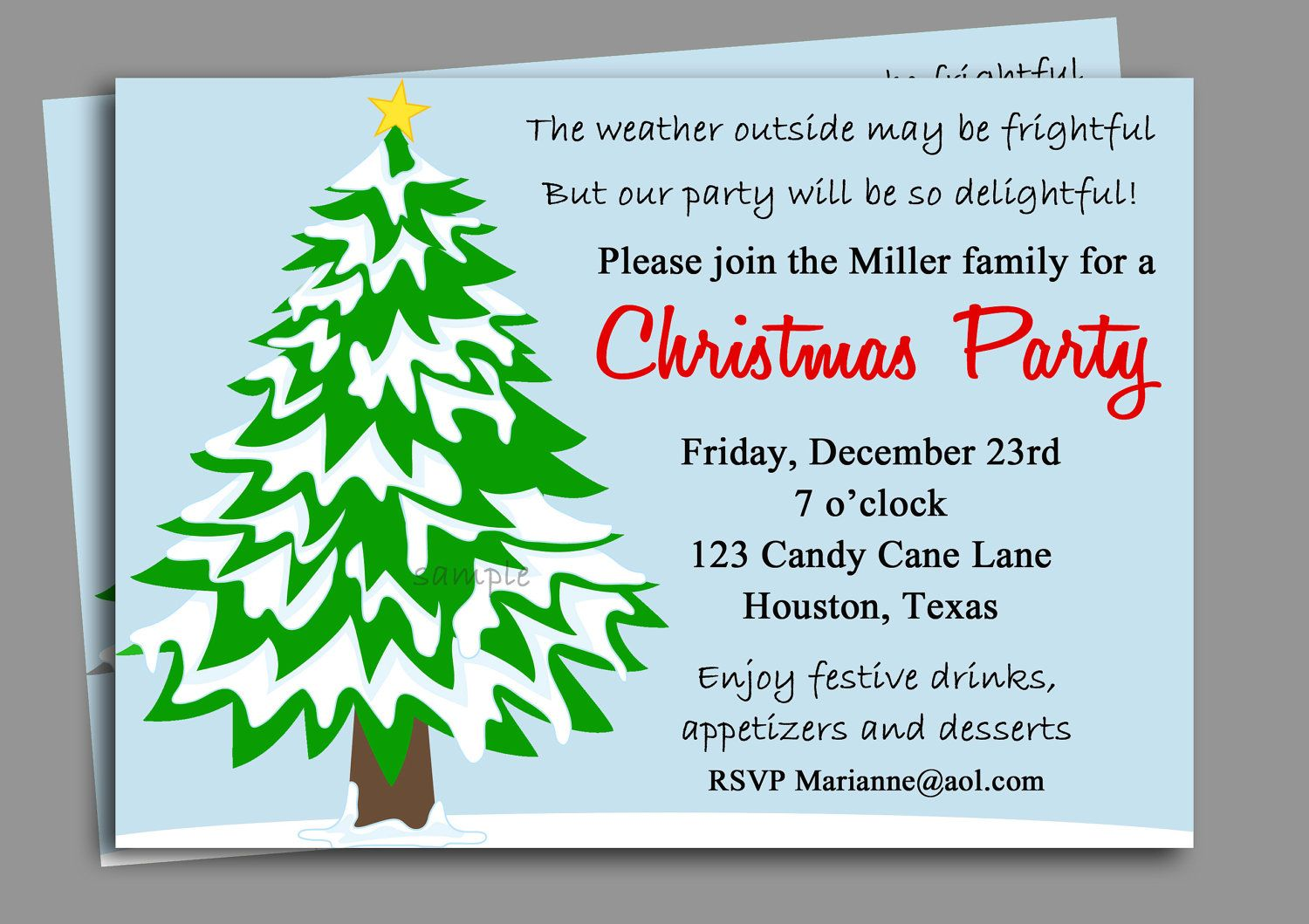 Christmas Party Invitation Printable - Winter Wonderland by ...