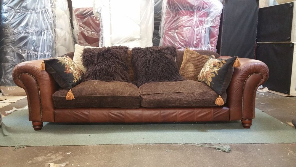 Tetrad Degas Grand sofa - aniline leather and chenille - free ...