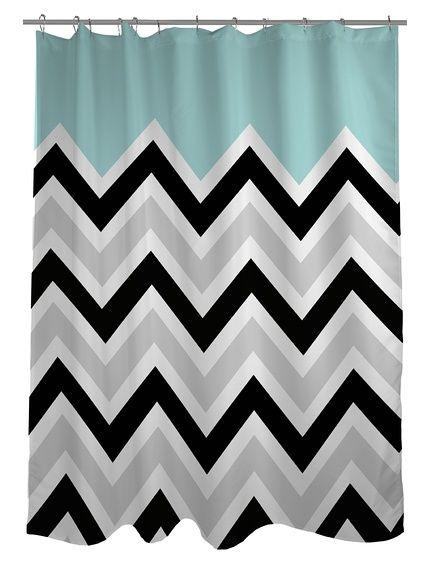 One Bella Casa Chevron Solid Shower Curtain Black White