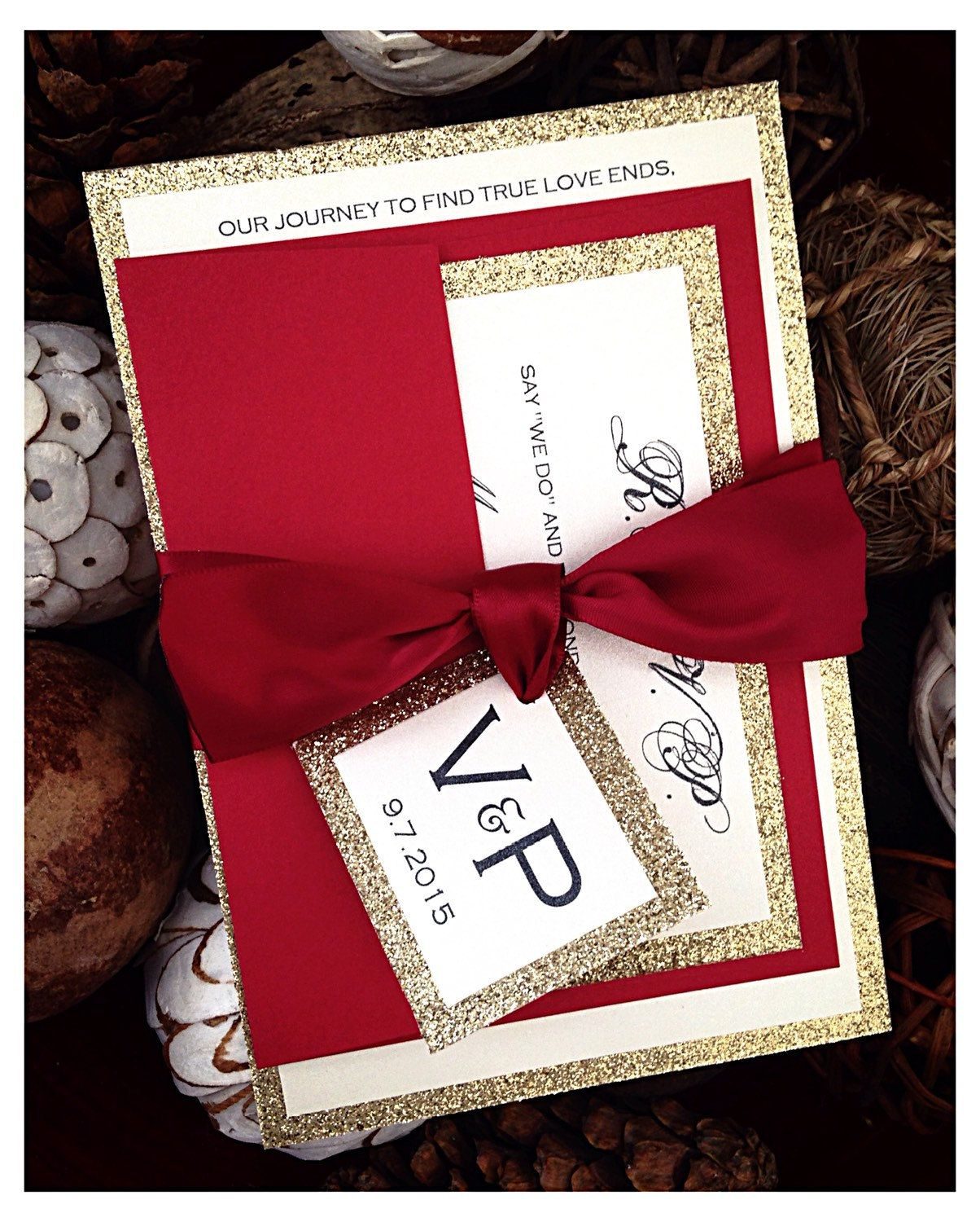 Red Wedding Invitations, Red and Gold Glitter Wedding Invitation ...