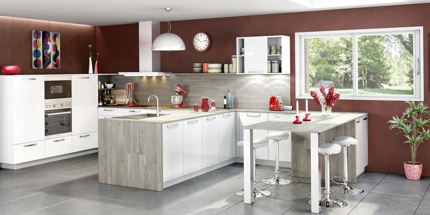 Cuisine Ouverte Et Moderne Coloris Blanc Et Gris Cendr Cuisines