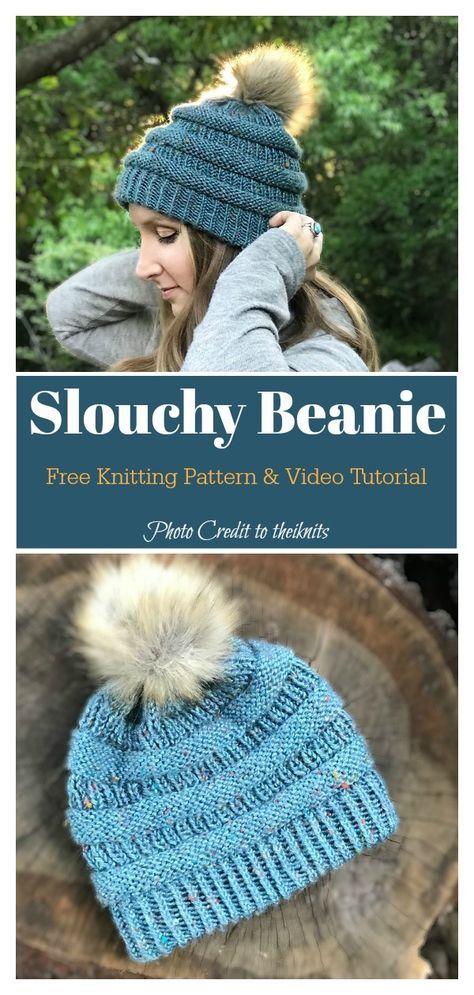 Easy Slouchy Beanie Hat Free Knitting Pattern | Knitting ...