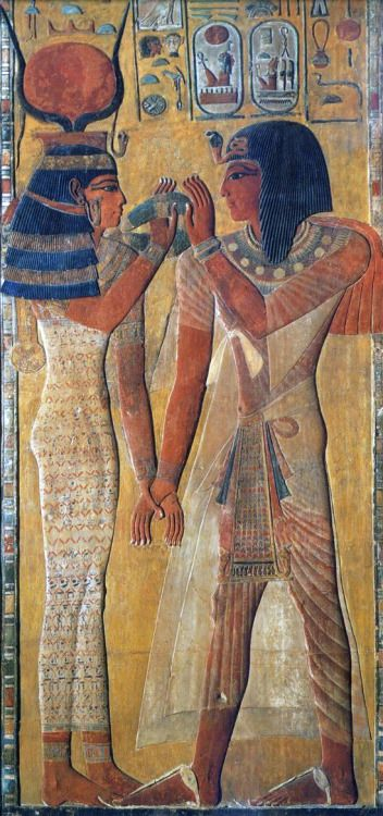 Pharaoh Seti I And The Goddess Hathor 19th Dynasty Painting Med Billeder Egypten Egyptisk Kunst Antikken