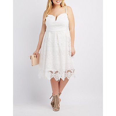 White Lace Sweetheart Strapless Dress