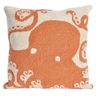 Liora Manne Octopus Decorative Indoor/Outdoor Pillow   Coral