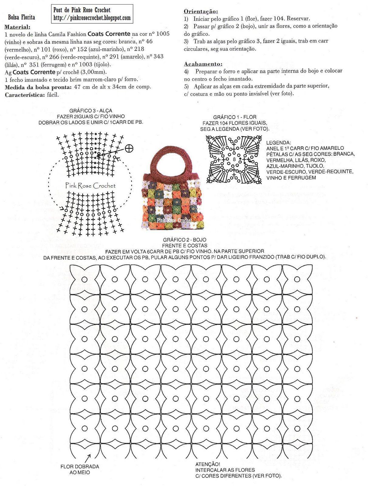 Free Crochet Purse Pattern/Diagram...translate. | Crochet purses ...