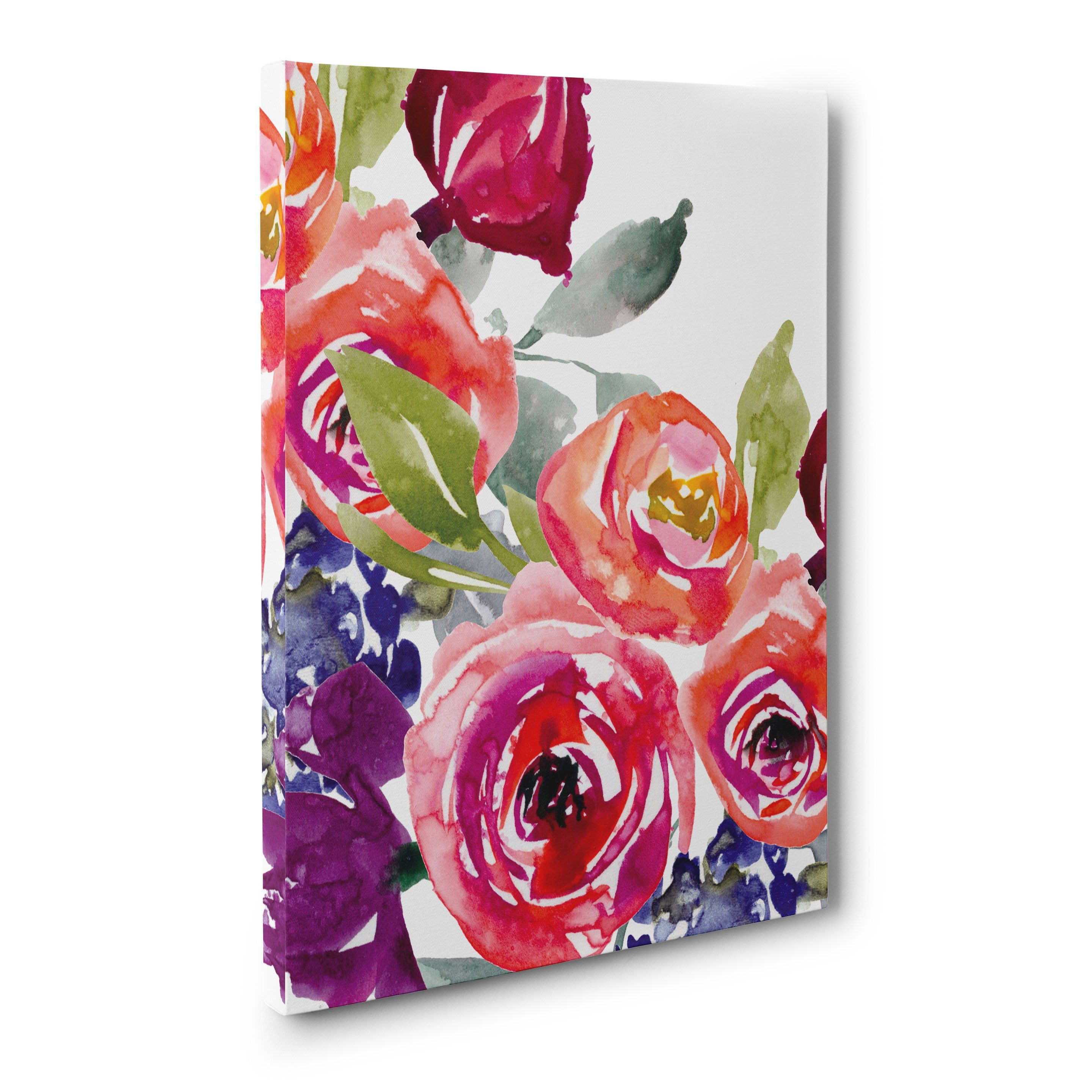 Bright color pink rose water color floral canvas print or photo