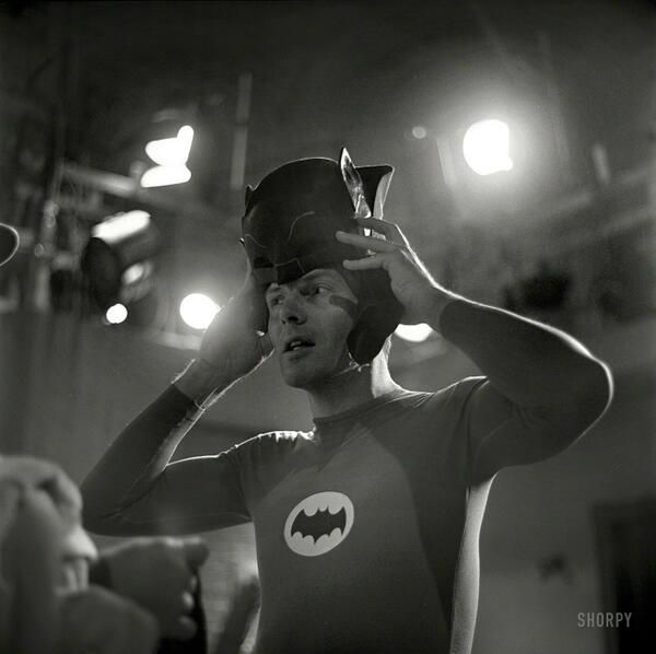 Image of the Day: Adam West slips on the Batcowl in '66