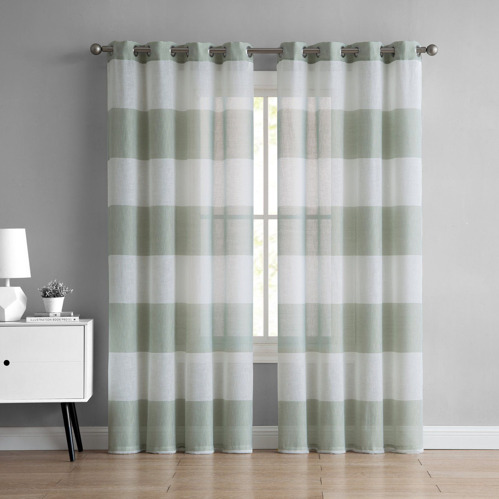 Mainstays Austin Semi Sheer Stripe Grommet Window Curtain Panel
