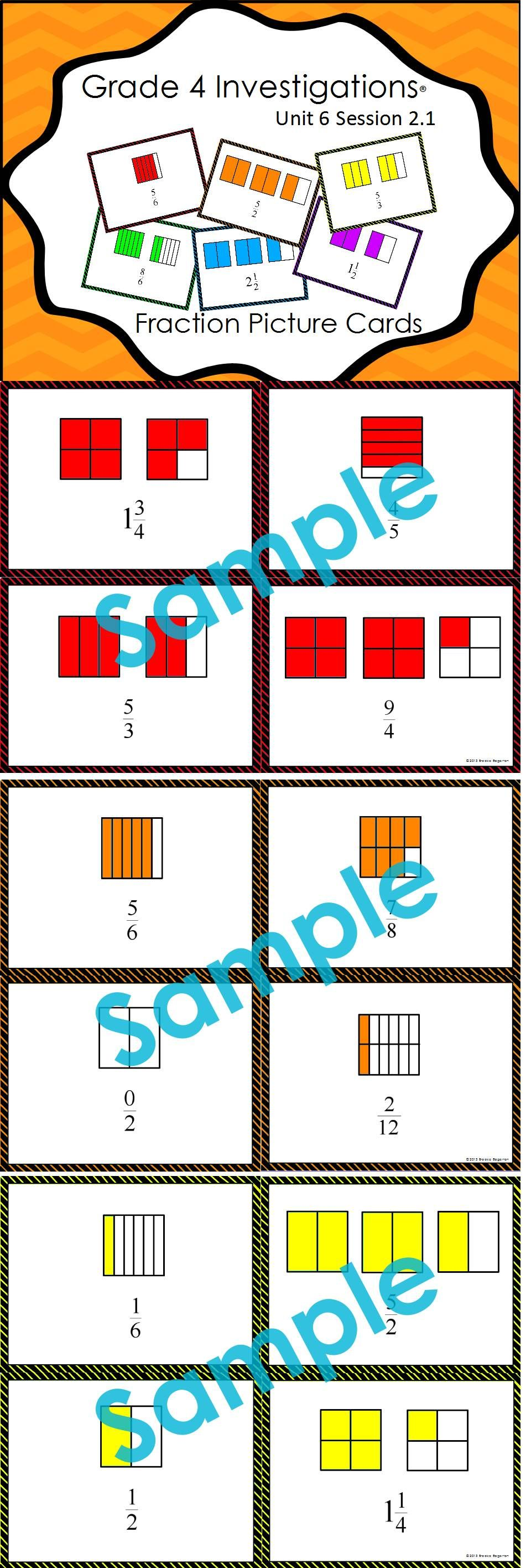 Forty Fraction Picture Cards Designed To Accompany Pearson S Grade 4 Investigations Unit 6 The Complete Set Is Availab Fractions Math Fractions Picture Cards [ 2832 x 960 Pixel ]