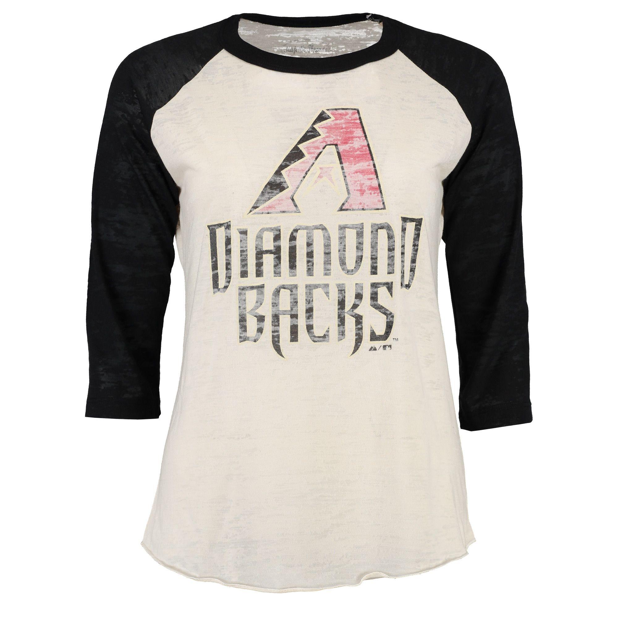 4a40f6097 MLB Arizona Diamondbacks Majestic Threads Women's Burnout Raglan Long  Sleeve T-Shirt - White/Black