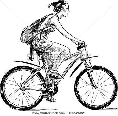 Girl On The Bicycle Stock Vector With Images Bicycle Drawing