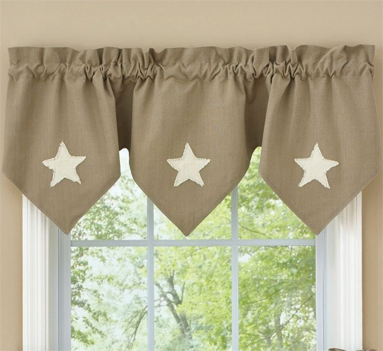 Taupe Stars Lined Tripe Point Valance Can Be Used As A Window Topper Or Hang With Our Por Tiers And Panels Country Porch Home Decor Features R Bath