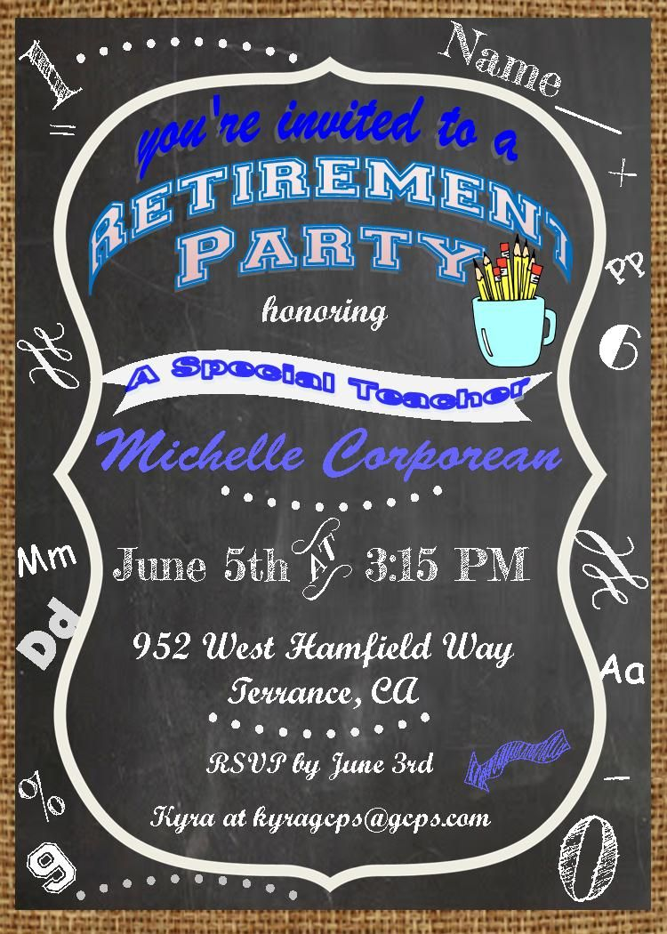 Retirement party invitations- custom made teacher retirement party ...