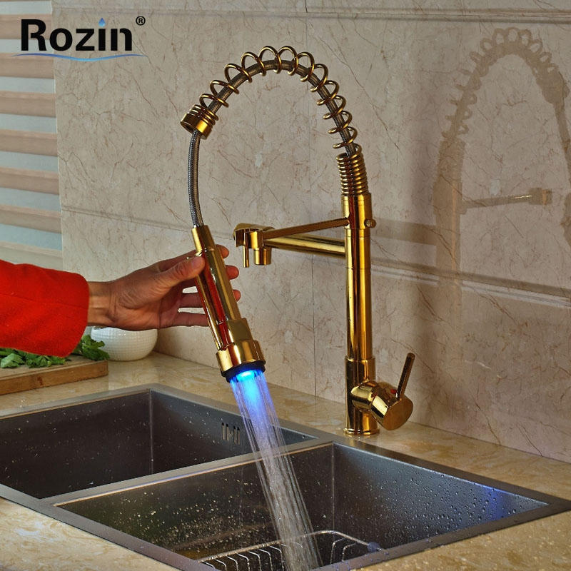 89.70$ Watch here - Color Changing LED Light Kitchen Faucet Double ...