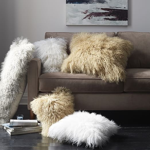 Mongolian Lamb Pillow Cover Stone White 12 X16 West Elm
