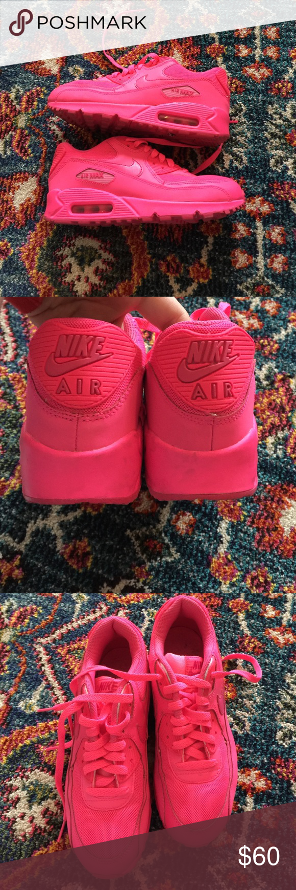 Neon Hot Pink Air Max 90 Size 6Y This awesome Air Max 90's
