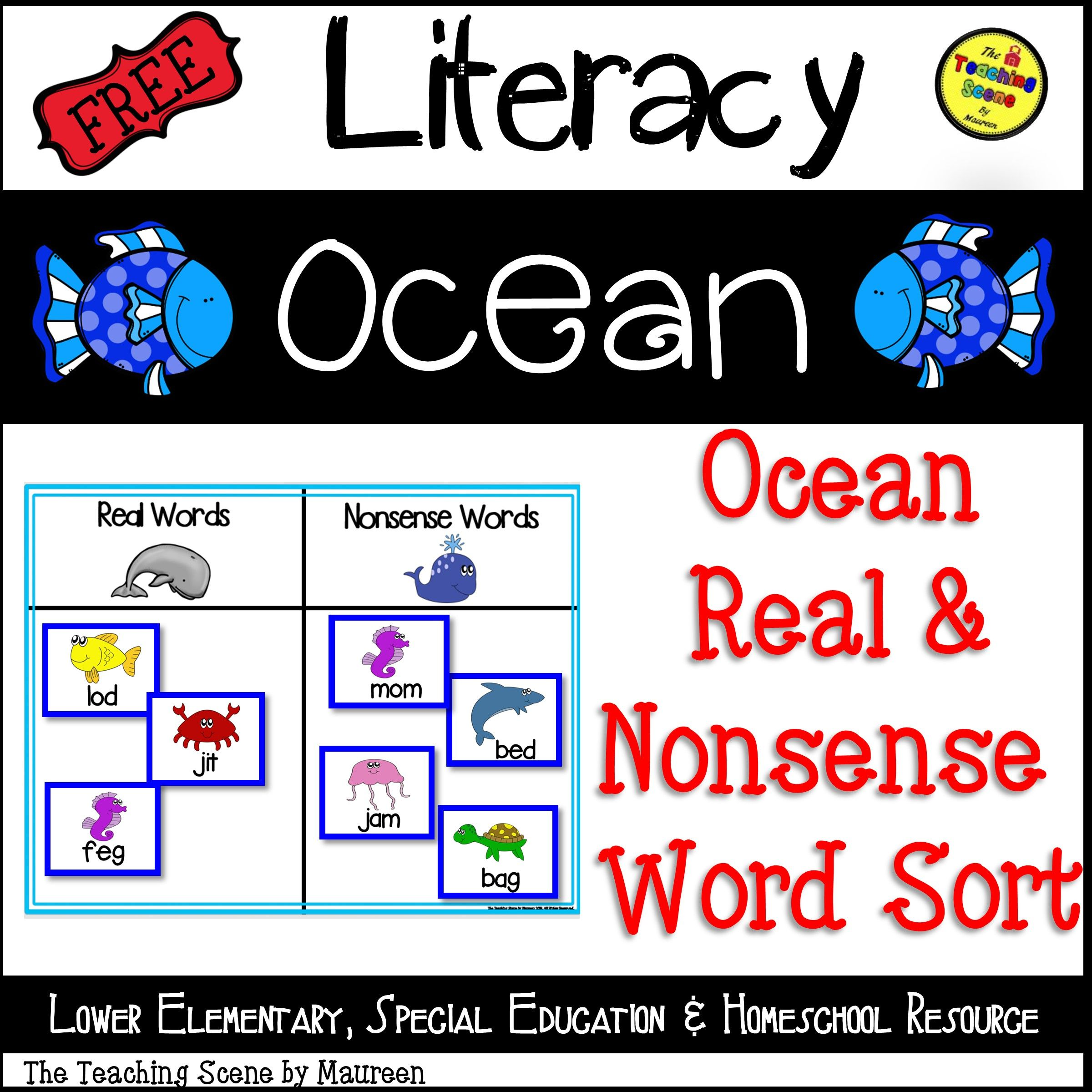 Ocean Themed Real Amp Nonsense Word Sort Free