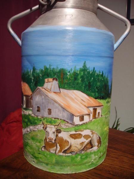 bidon de lait peint recherche google pots de lait peints pinterest bidons de lait peints. Black Bedroom Furniture Sets. Home Design Ideas